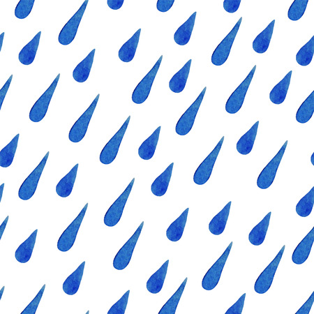 Watercolor seamless pattern of blue rain drops. EPS 8 vector background .