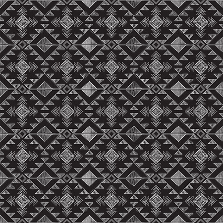 redskin: Ethnic ornamental tribal  textile seamless pattern . Black and white hand-drown background .