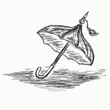 umbrela: Sketch umbrella. Vector isolated on white background . Illustration