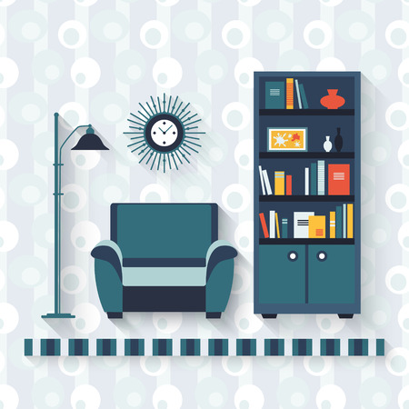 book shelf: Book shelf and arm-chair. Flat style vector illustration.