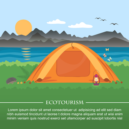 rural areas: illustration of  meadow with a tent on a background of mountains and lakes . Flat style . Illustration