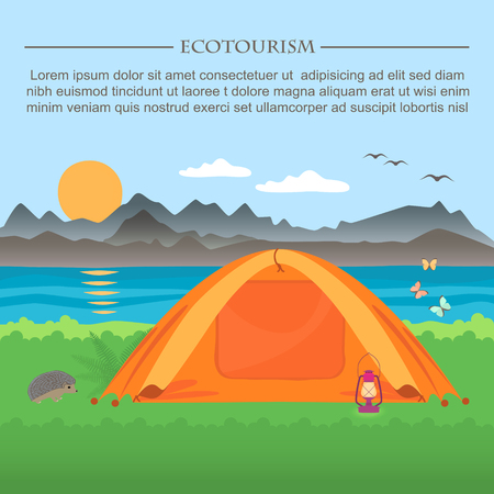 loch: illustration of  meadow with a tent on a background of mountains and lakes .