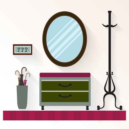 commode: interior hallway with mirror and  commode . Hallway home  interior with furniture. Illustration