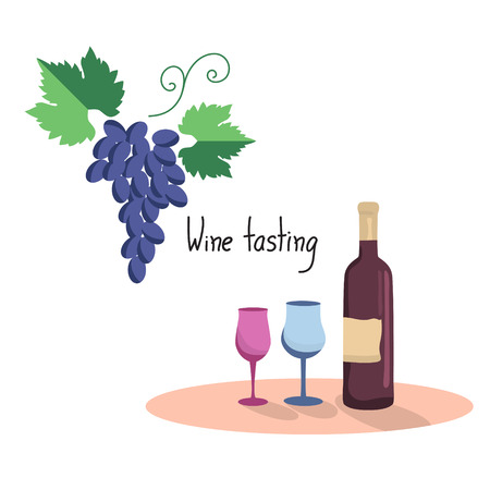 red grape: illustration  of wine bottle, two wine glasses and grapes. Flat style Illustration