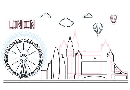 Urban city skyline and buildings of London . Cityscape icon. Ilustração