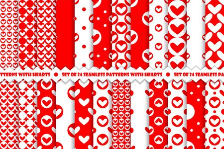 Set of red romantic geometric seamless pattern with hearts. Collection of wrapping paper.