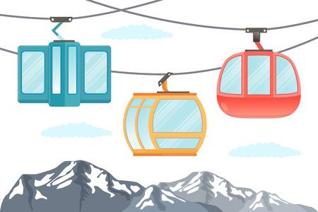 Funicular railway . Ski cable car . Vector .