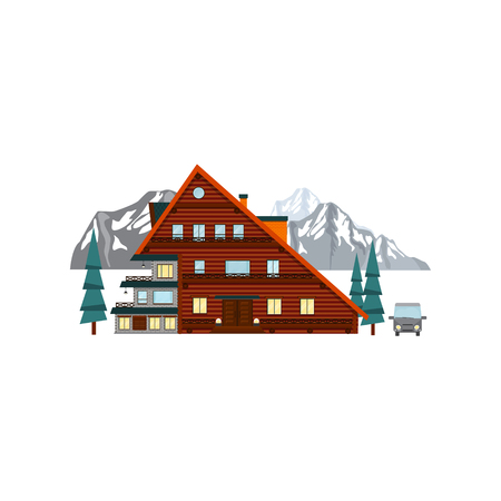 Wooden house hotel in the mountains. Vector
