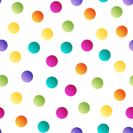 Colorful bright polka dot seamless pattern on white background . Иллюстрация