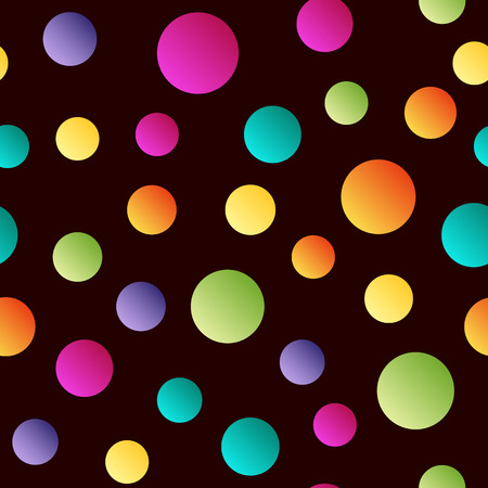 Seamless bright  polka dot pattern on dark background . Vector
