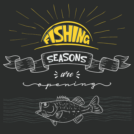 Inscription announcement about fishing. Season opening. Vector i