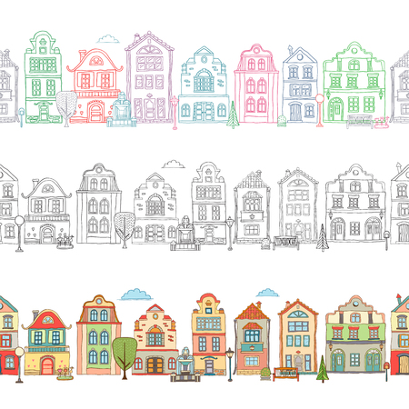 Seamless border pattern with cute houses . Vector doodles Illustration