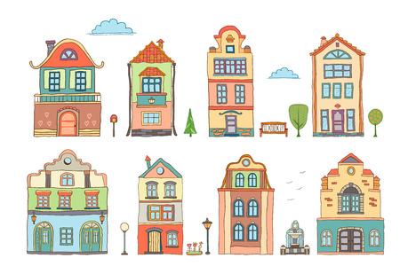 Set of colored scandinavian  houses . Vector doodles Illustration