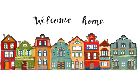 Row of multicolored doodle small town houses with  inscription welcome home . Vector Çizim