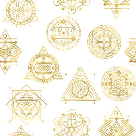 Nahtloses Vektormuster mit heiligen goldenen Formen Vektorgrafik