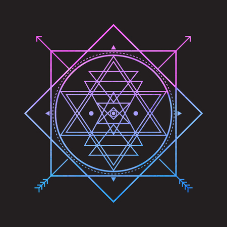 Bright vector sacred symbol on black background