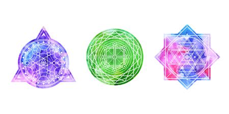 Set of bright colored sacred shapes . Watercolor background is cut in shape.Vector Illustration