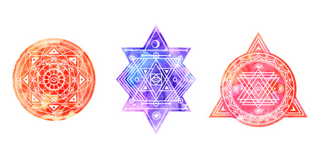 Set of bright colored sacred shapes . Watercolor background is cut in shape.Vector signs