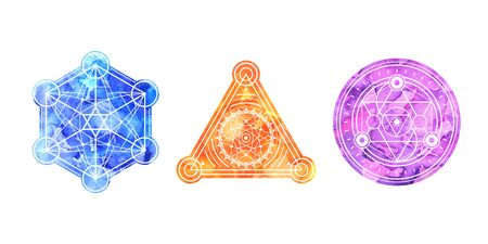 Set of bright colored sacred shapes . Watercolor background is cut in shape.Vector symbols Illustration