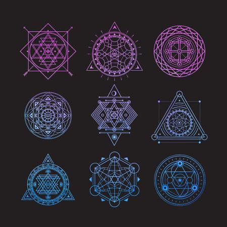 Set of bright vector sacred symbols on black background
