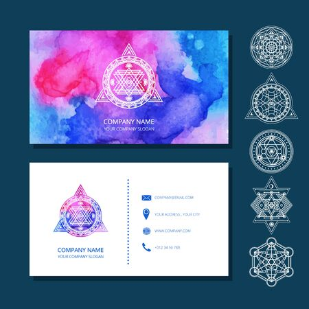 Watercolor business cards include set of sacred symbols. Used clipping mask. Illustration