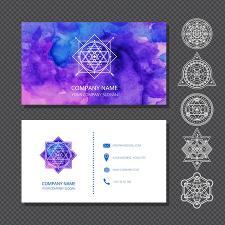 Watercolor business cards include set of sacred symbols with stroke . Used clipping mask.