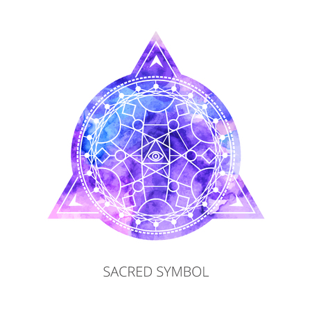 Sacred forms on  background of blue-pink watercolor. Backdrop under clipping mask .  Vector