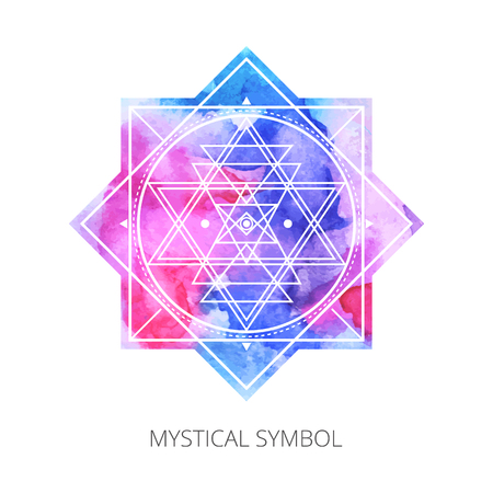 Sacred forms on  background of blue-pink-red  watercolor. Backdrop under clipping mask .  Vector