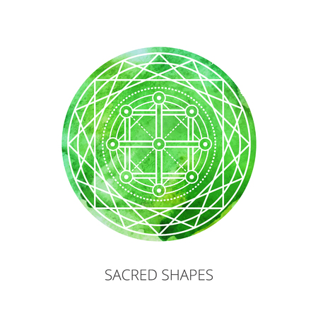 Sacred forms on  background of green watercolor. Backdrop under clipping mask .  Vector