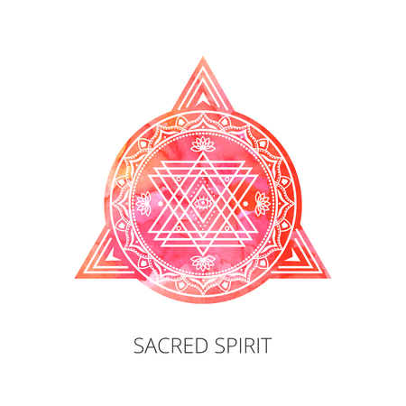 Sacred forms on  background of red orange  watercolor. Backdrop under clipping mask .  Vector Illustration