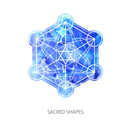 Sacred forms on  background of blue watercolor. Backdrop under clipping mask .  Vector Illustration