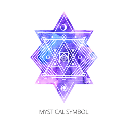 Sacred forms on  background of blue-violet  watercolor. Backdrop under clipping mask .  Vector