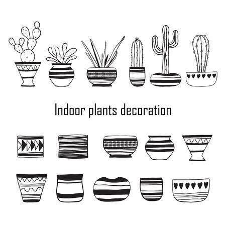 Set of plants and empty flower pots . Vector doodle illustration.