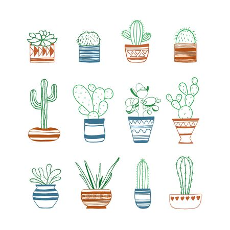Set of colored contours cacti . Vector Illustration