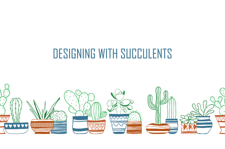 Seamless row of colored contour cacti . Vector Illustration