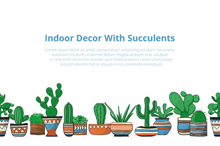 Cute colored cacti in row . Seamless vector background Illustration
