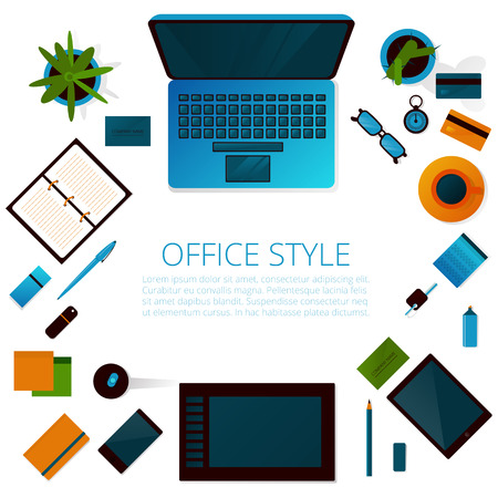 Workspace on the office table . Top view . Vector . Illustration