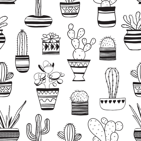 Seamless contour pattern with  cute cacti . Vector background .