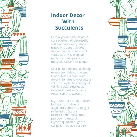 Seamless vertical rows with colored contours succulents . Vector background Illustration