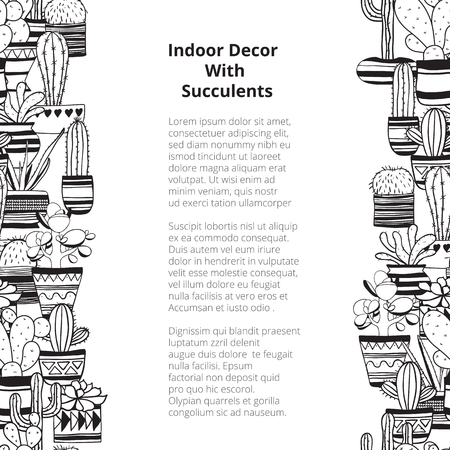 Seamless vertical rows with black contours succulents . Vector background