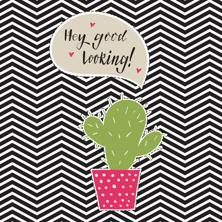 Hand drawn cactus sticker with  speech bubble . Vector illustration.