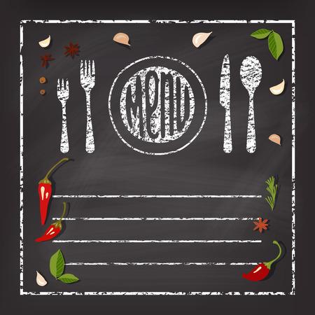 Inscription Menu on chalk board . Vector background with spice . Illustration