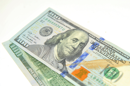 The denominations of one hundred dollars. Stock Photo