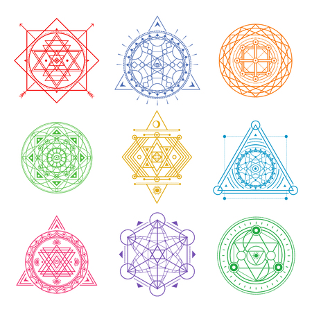 Collection of colored sacred symbols .Vector elements . Illustration