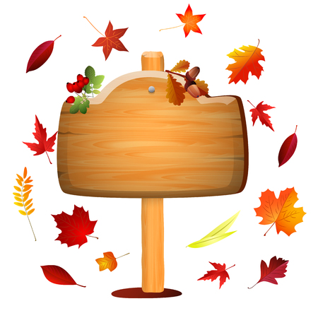 Autumn board with colored leaves . Vector background . Illustration