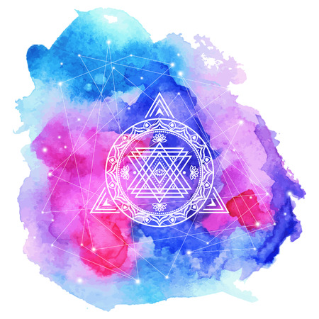 Sacred symbol on watercolor background . Vector element .