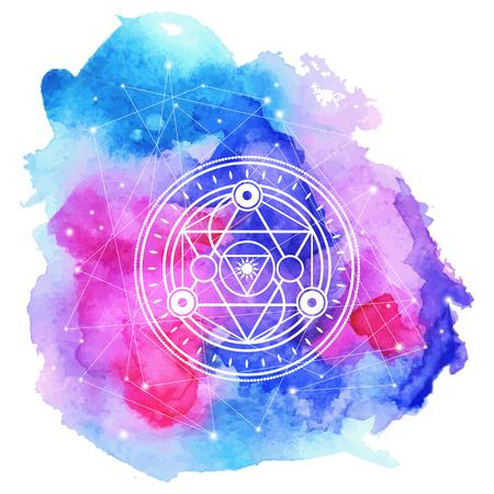 Sacred symbol on bright  watercolored  background . Vector eleme Illustration