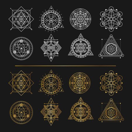 Set of gold and white sacred symbols on black background . Vecto