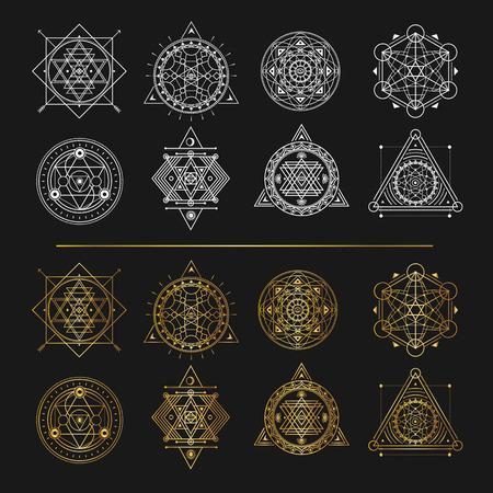Set of gold and white sacred symbols on black background . Vecto Illustration