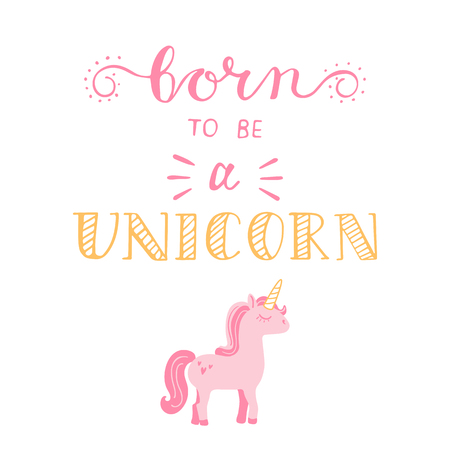 Lettering with pink unicorn . Vector .
